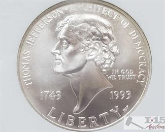 #2031 • .900 Silver 1993 P Jefferson $1 Coin - NGC Grader MS 69 in protective casing