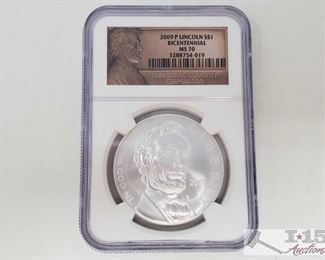 #2032 • .900 Silver 2009-P Lincoln $1 Bicentennial Coin - NGC Graded MS70 in protective casing