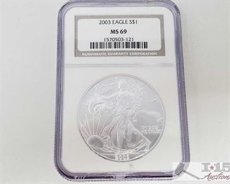 #2034 • .999 Fine Silver 2003 $1 Walking Liberty 1oz Coin - NGC Graded MS69