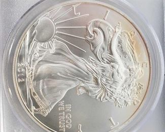 #2038 • .999 Fine Silver 2012-S $1 Walking Liberty 1oz Coin - PCGS Graded MS70