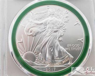 #2040 • .999 Fine Silver 2017 $1 Walking Liberty 1oz Coin - PCGS Graded MS69