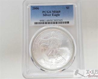 #2041 • .999 Fine Silver 2006 $1 Walking Liberty 1oz Coin - PCGS Graded
