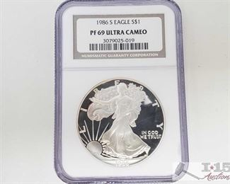 #2042 • .999 Fine Silver 1986-S $1 Walking Liberty 1oz Coin - NGC Graded PF69