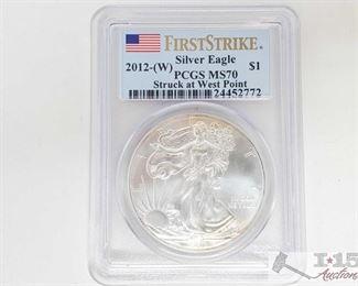 #2043 • .999 Fine Silver 2012-W $1 Walking Liberty Coin - PCGS Graded MS70