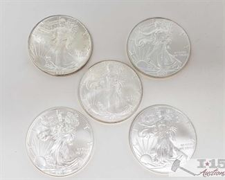 #2049 • Five .999 Fine $1 Silver Walking Liberty 1oz Coins 1986, 200, 2007, 2015 and 2016 coins
