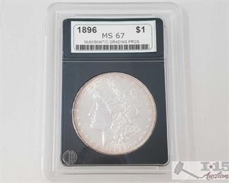 #2050 • 1896 Morgan Silver Dollar - NGP Graded  Philadelphia Mint NCP Graded MS67 Year 1896 Prof Grade: MS67