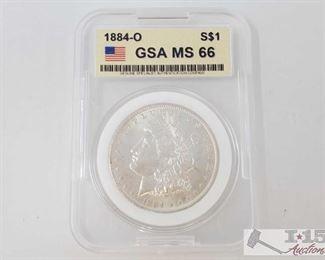 #2051 • 1884-O Morgan Silver Dollar - GSA Graded  New Orleans Mint GSA MS66 Prof Graded MS66