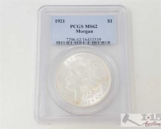 #2053 • 1921 Morgan Silver Dollar - PCGS Graded MS62 Philadelphia Mint 1921 Prof Grade MS62