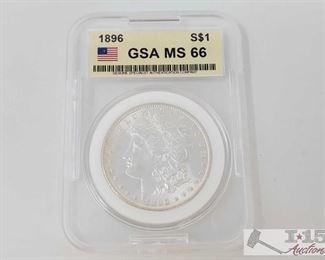 #2054 • 1896 Morgan Silver Dollar - PCGS Graded MS62 Philadelphia Mint 1986 Prof Graded MS62