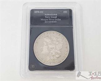 #2056 • 1878-CC Morgan Silver Dollar - Graded Carson City Mint