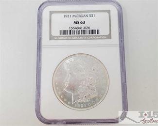 #2057 • 1921 Morgan Silver Dollar - NCG Graded MS63 Philadelphia Mint 1921 Prof Grade MS63