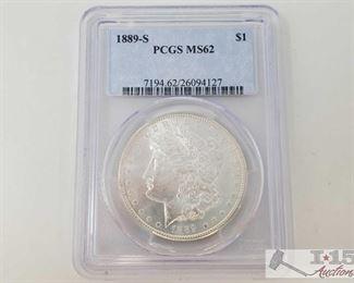 #2060 • 1889-S Morgan Silver Dollar - PCGS Graded MS62 San Fransisco Mint 1889  1889