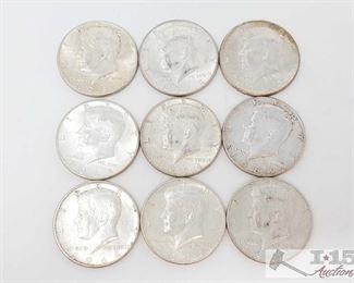 #2075 • Nine 1964 Silver Kennedy Half Dollars Nine 1964 Silver Kennedy Half Dollars