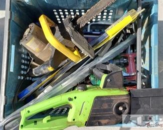 #4110 • Various Handyman Items two electric chain saws , windshield wipers, door stripping , car jack and more