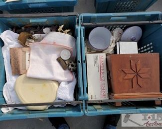 #4134 • Stamps, Glassware, Saucepan, Ash Trays, Dog Russin Nesting doll and more!
