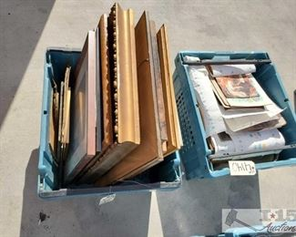 #4140 • 2 Totes of Paintings and Framed Picture
