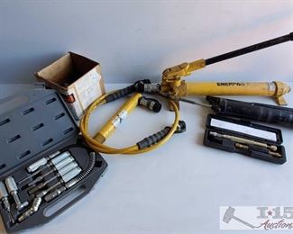 #4505 • Enerpac Hydraulic Pump P39, Hydraulic Cylinder RC57 and More
