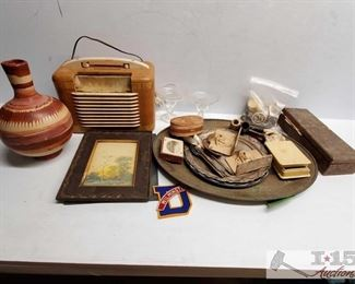 #4604 • Vintage Radio, Paper Clippings, Jewelry, Shells and much more!