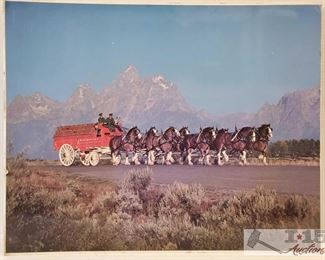 #4631 • Budweiser Wagon Pulled by Clydesdale Horses Photo