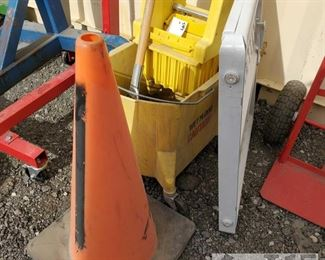 #7905 • Mop and Bucket, Gate and Traffic Cone
