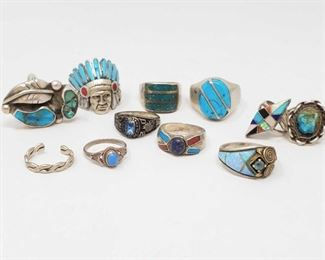 #1276 • Sterling Silver Turquoise Rings, weighs approx 90.5g, Sizes approx 3 tp 12.5