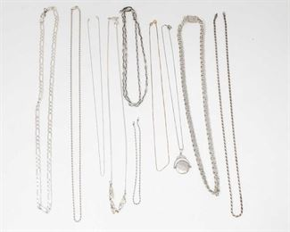 """#1280 • 10 Sterling Silver Necklaces, weighs approx 121.8g measures approx 9"""" to 28"""""""
