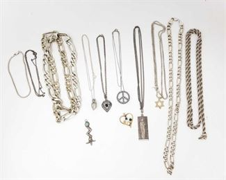 #1282 • 10 Sterling Silver Necklaces and Pendants, 294.6g