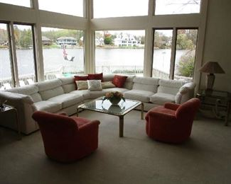 Sectional sofa, chairs, brass coffee table