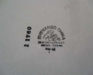 Shenango China, mark on bottom of dishes