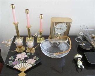 Glassware and clock
