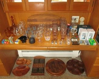 Glassware and office supplies