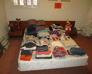 Clothing and full size bed