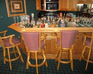 Barstools and glassware
