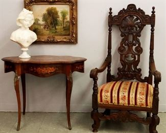 Carved Oak Armchair, Inlaid Parlor Table, marble bust, A. Dufore landscape