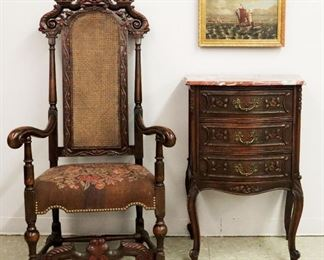 Carved walnut armchair, French marble top chest, 19th c seascape
