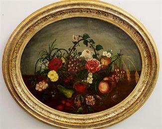 19th c Oval Still life oil on canvas still life in original gilt frame