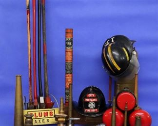 Fire fighting collection - axes, helmets, fire bells, extinguishers, nozzles, etc.