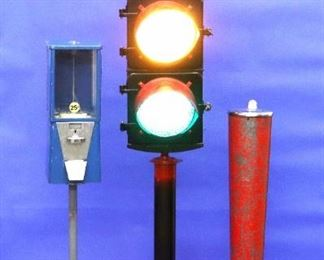 Stop light on Pole, Menkhaus Penny Scale, Astro Gumball Machine b