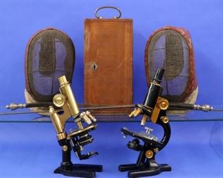 Epees and masks, Spencer and Leitz Wetzlar microscopes