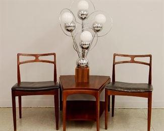 "Pr. Rosewood Danish Side chairs, ""Sputnik"" table lamp, Teak Lane Side table"