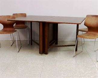 Teak Bruno Matthisson Maria table and 4 Molded side chairs