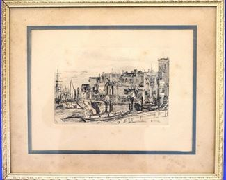 Thames Police Etching after Whistler