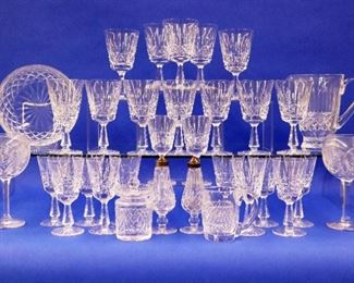 Waterford glasses, pitcher, bowl, shakers