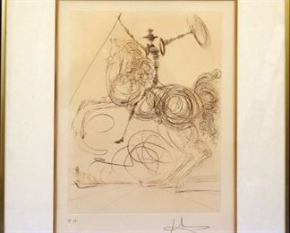 """""""Don Quixote"""" etching, pencil signed, after Dali"""