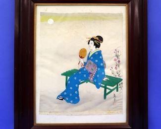 Japanese watercolor portrait on silk