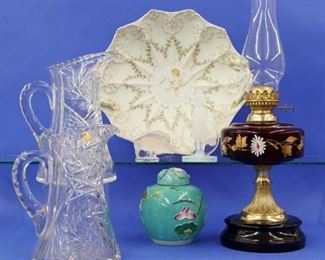 Limoges Tray, Sabino figurine, Cranberry lamp, cut glass pitchers, Lalique boar