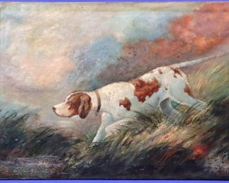 B. Lindstrom oil on canvas - Study of Pointer