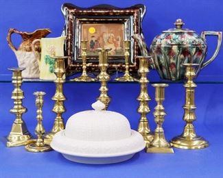 Majolica, Rockingham, Salt glaze butter dish, Brass candlesticks