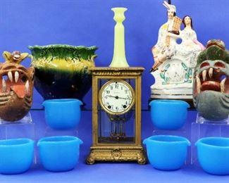 Seth Thomas Clock, Wooden Masks, Staffordshire figure, Blue glass washer bowls