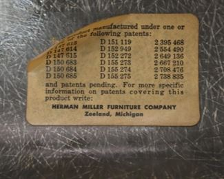 Eames for Herman Miller Shell Chairs, label